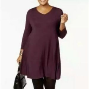 Style & Co 0X Burgundy Swing V-Neck Sleeve Dress